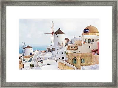 Oai Santorini View Framed Print by Gualtiero Boffi
