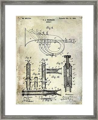 1900 Cornet Patent Framed Print by Jon Neidert