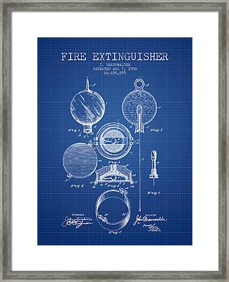 1900 Fire Extinguisher Patent - Blueprint Framed Print by Aged Pixel