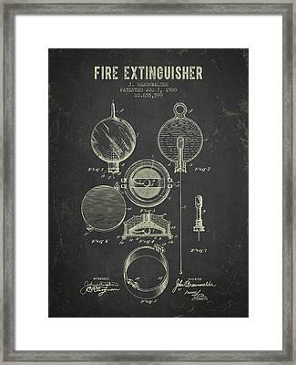 1900 Fire Extinguisher Patent - Dark Grunge Framed Print by Aged Pixel
