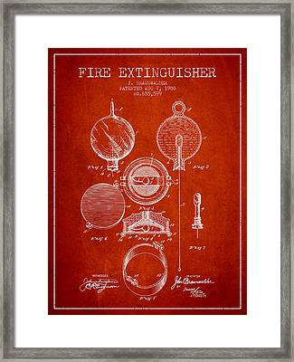 1900 Fire Extinguisher Patent - Red Framed Print