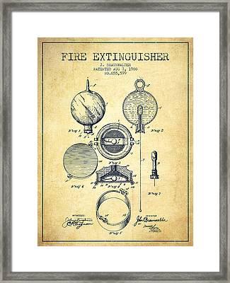 1900 Fire Extinguisher Patent - Vintage Framed Print by Aged Pixel