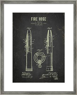1900 Fire Hose Patent- Dark Grunge Framed Print by Aged Pixel