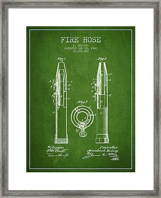 1900 Fire Hose Patent - Green Framed Print by Aged Pixel