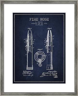 1900 Fire Hose Patent - Navy Blue Framed Print by Aged Pixel