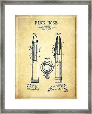 1900 Fire Hose Patent - Vintage Framed Print by Aged Pixel
