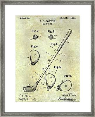 1910 Golf Club Patent Framed Print by Jon Neidert