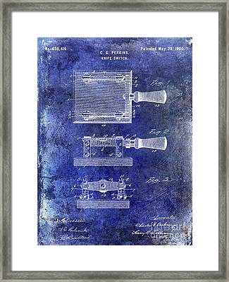 1900 Knife Switch Patent Blue Framed Print