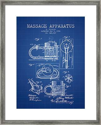 1900 Massage Apparatus Patent - Blueprint Framed Print by Aged Pixel