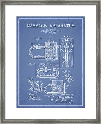 1900 Massage Apparatus Patent - Light Blue Framed Print by Aged Pixel