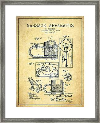 1900 Massage Apparatus Patent - Vintage Framed Print by Aged Pixel