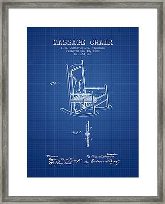 1900 Massage Chair Patent - Blueprint Framed Print by Aged Pixel