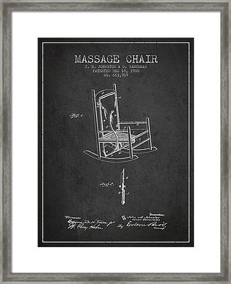 1900 Massage Chair Patent - Charcoal Framed Print
