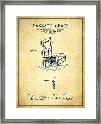 1900 Massage Chair Patent - Vintage Framed Print by Aged Pixel