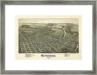 1900 Meyersdale Pennsylvania Map Framed Print by Dan Sproul