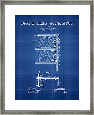 1901 Draft Beer Apparatus - Blueprint Framed Print by Aged Pixel