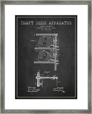 1901 Draft Beer Apparatus - Charcoal Framed Print by Aged Pixel