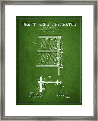 1901 Draft Beer Apparatus - Green Framed Print by Aged Pixel