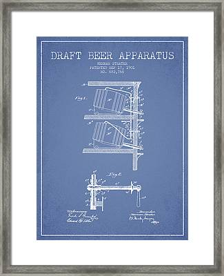 1901 Draft Beer Apparatus - Light Blue Framed Print by Aged Pixel
