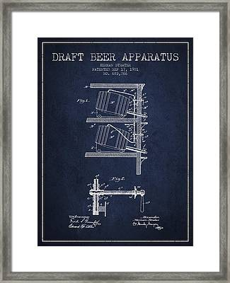 1901 Draft Beer Apparatus - Navy Blue Framed Print by Aged Pixel