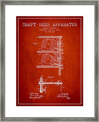 1901 Draft Beer Apparatus - Red Framed Print by Aged Pixel