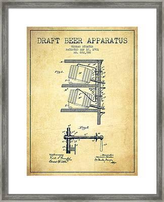 1901 Draft Beer Apparatus - Vintage Framed Print by Aged Pixel