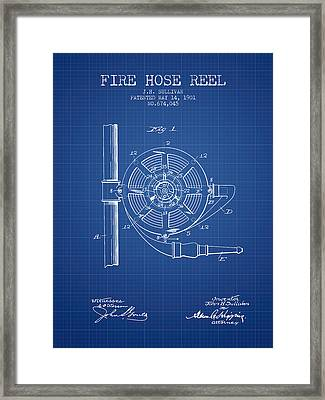 1901 Fire Hose Reel Patent - Blueprint Framed Print by Aged Pixel