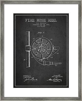 1901 Fire Hose Reel Patent - Charcoal Framed Print by Aged Pixel
