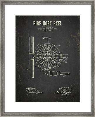 1901 Fire Hose Reel Patent- Dark Grunge Framed Print by Aged Pixel