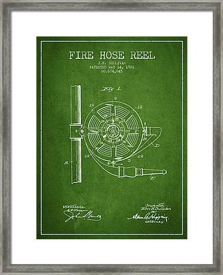 1901 Fire Hose Reel Patent - Green Framed Print by Aged Pixel