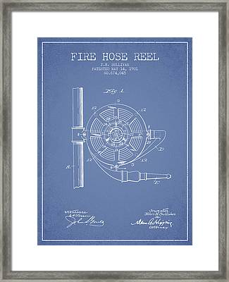 1901 Fire Hose Reel Patent - Light Blue Framed Print by Aged Pixel