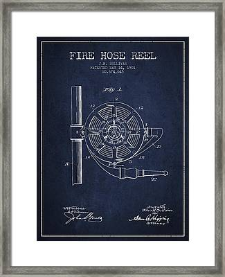 1901 Fire Hose Reel Patent - Navy Blue Framed Print by Aged Pixel