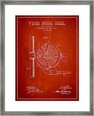 1901 Fire Hose Reel Patent - Red Framed Print by Aged Pixel