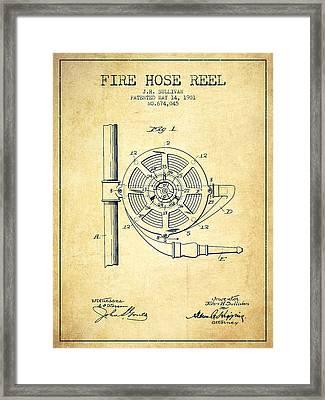 1901 Fire Hose Reel Patent - Vintage Framed Print by Aged Pixel
