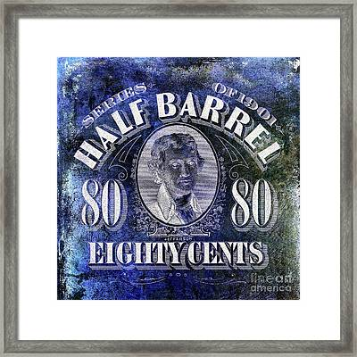 1901 Half Beer Barrel Tax Stamp Blue Framed Print