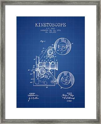 1901 Kinetoscope Patent - Blueprint Framed Print by Aged Pixel
