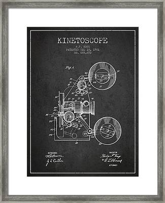 1901 Kinetoscope Patent - Charcoal Framed Print by Aged Pixel