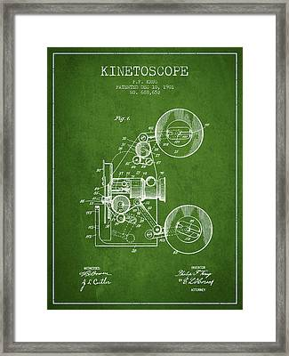 1901 Kinetoscope Patent - Green Framed Print by Aged Pixel
