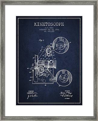 1901 Kinetoscope Patent - Navy Blue Framed Print by Aged Pixel
