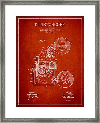 1901 Kinetoscope Patent - Red Framed Print by Aged Pixel