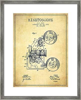 1901 Kinetoscope Patent - Vintage Framed Print by Aged Pixel