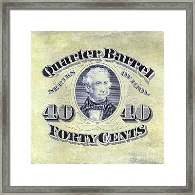 1901 Quarter Beer Barrel Tax Stamp Framed Print