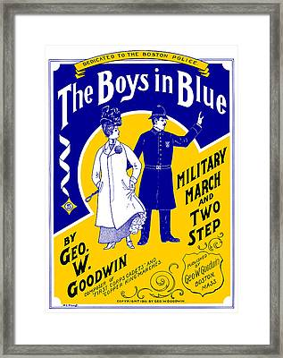 Framed Print featuring the painting 1901 The Boys In Blue, The Boston Police by Historic Image