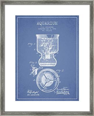 1902 Aquarium Patent - Light Blue Framed Print by Aged Pixel