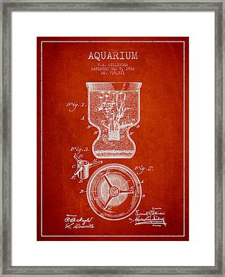 1902 Aquarium Patent - Red Framed Print