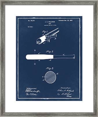 1902 Baseball Bat Patent In Blue Framed Print by Bill Cannon