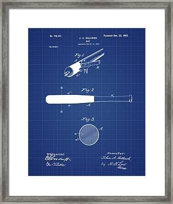 1902 Baseball Bat Patent In Blueprint Framed Print by Bill Cannon