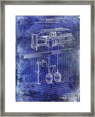 1902 Beer Draft Patent Blue Framed Print