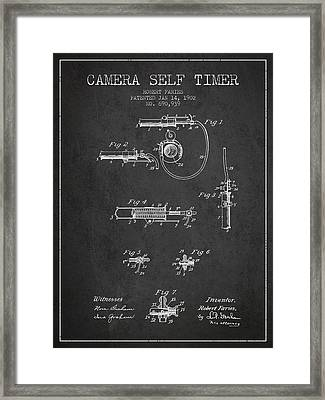 1902 Camera Self Timer Patent - Charcoal Framed Print by Aged Pixel