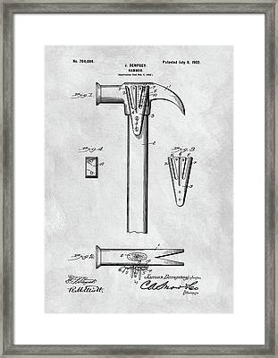 1902 Claw Hammer Patent Illustration Framed Print by Dan Sproul